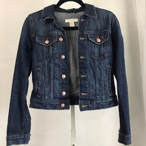H&M denim jean jacket Sz 2 XS dark wash